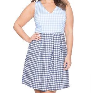 Blue Pleated Gingham Dress